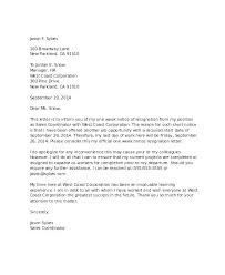 One Week Notice Resignation Letter Two Week Resignation Letter 4 One Notice Template 1 Period