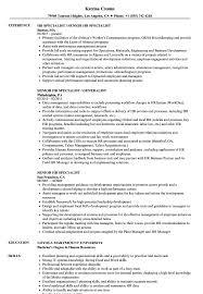 Senior Hr Specialist Resume Samples Velvet Jobs