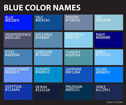 Blue Color Chart With Names Blue Color Names In 2019 Green Color Names Color Palette