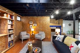 Exposed ceiling lighting basement industrial black Joists Unfinished Painting Basement Ceiling Black Home Design Ideas Unfinished Painting Basement Ceiling Black Studio Home Design