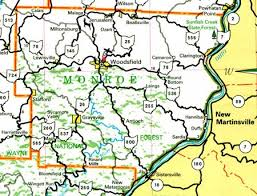 monroe county ohio map ohiobiz com Monroe County Ohio Road Map monroe county, ohio road map of monroe county ohio