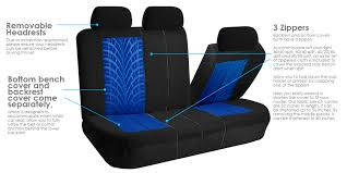 fh group travel master side airbag compatible car seat covers with split bench function full set blue and black com