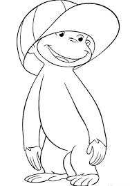 Wearing Hat Curious George Coloring Pages