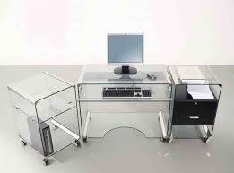 glass office table. Glass Office Desk Ideas Using Transparent Secretary With Wheels: Magnificent Table