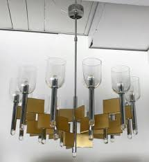 italian chandelier in brass and chrome by sciolari 1970s 1