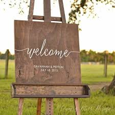 wooden welcome wedding rustic sign