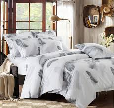 black and white bedding set feather duvet cover queen king size full twin double bed sheets bedspreads quilt linen cotton plume in bedding sets from home