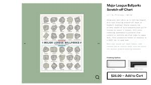Major League Ballparks Scratch Off Chart In 2019 For The