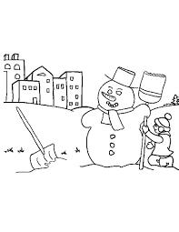 Kleurennu Sneeuwpop In De Stad Kleurplaten