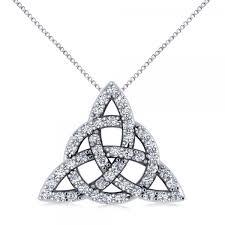 diamond trinity celtic knot pendant necklace 14k white gold 0 45ct