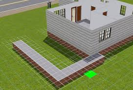 for the sloping driveway to look right there needs to be at least eleven spaces between the footpath and the garage door lucky for me this house is