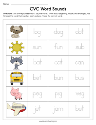 Printables for preschool and kindergarten english language arts. Cvc Word Sounds Worksheet Have Fun Teaching