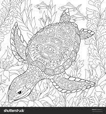 Zentangle Stylized Cartoon Turtle Swimming Among