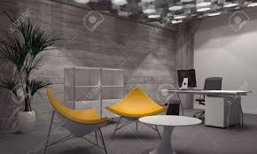 contemporary office. Interior Of Modern Room Furnished With Contemporary Office And Sitting Furniture, Featuring Two Bright Yellow R