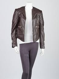 balenciaga brown quilted lambskin leather biker jacket size 6 38