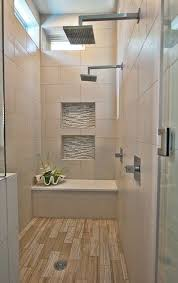 Love this large shower with bench with rustic blonde ceramic wood tile  flooring: