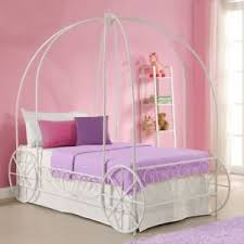 Girls Twin Bed Frame Canopy Carriage Metal Cinderella Princess ...