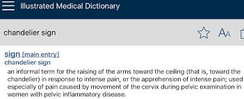 คำว า chandelier sign ถ าด จาก medical dictionary หลายๆเล มเช น ilrated medical dictionary ของ dorland ม คำว า informal term เป นคำท ไม เป นทางการ