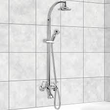 exposed pipe shower remer lr09us wall mounted bathtub mixer with sliding rail and