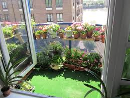 Lawn & Garden:Lovely Small Balcony Gardening Ideas With Glass Balcony Fence  And Hanging Small
