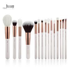 jessup pearl white rose gold professional makeup brushes set make up brush tools kit foundation powder natural synthetic hair