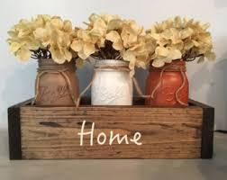 mason jar decor, fall centerpiece, mantle decor, planter box, wooden table  box
