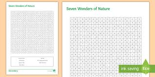 Word Of Nature Seven Wonders Of Nature Word Search Worksheet Activity Sheet Seven