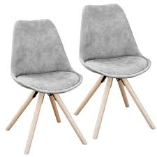 Svita 2er Set Esszimmerstühle Retro Grau Stuhl K Real