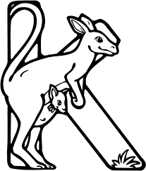 colouring page of a letter k with kangaroo