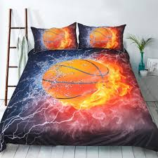 3d basketball fire printed bedding set unique duvet cover set twin full queen size sports bedding soft bedclothes 3d basketball bedding set basketball fire