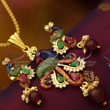 ps6163 gold plated peacock latest design painting work real look pendant set
