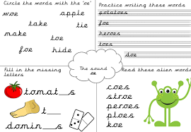 Choose the word that has a particular sound. Phonics Worksheet Oe Teaching Resources