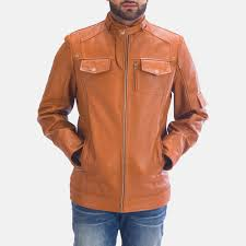 mens hans tan brown leather jacket 1