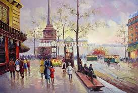 beautiful landscape paintings paris street scene oil painting on canvas china for living room