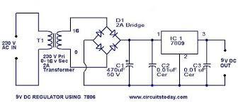 design of 9 v regulator using 7809 circuit diagram and schematics 9v regulator circuit jpg