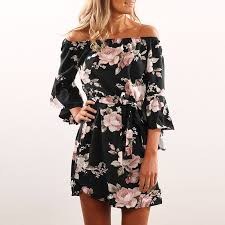 <b>Lossky Women Floral Print</b> Dress Sexy Off Shoulder Sashes Mini ...