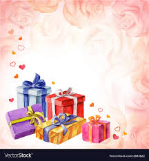 Gifts Background Gifts For Valentines Day On A Pink Background With