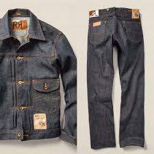 This classic denim jacket by Levi s Vintage Clothing features. RRL denim