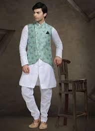 Half White Kurta Design Color Off White Silk Jacket Style Mens Churidar Kurta Pyjama