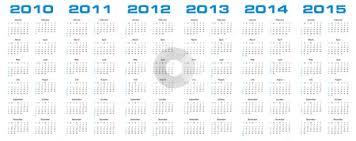 Calendar 2013 Through 2015 Calendar For 2010 Through 2015 Stock Vector