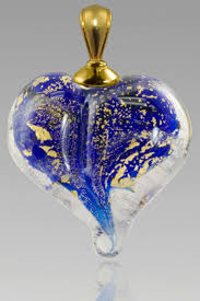 Blue and Gold Glass Heart with Encased Ashes