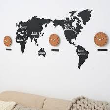 diy giant wall clock diy 3d wooden mdf digital wall clock world map wall