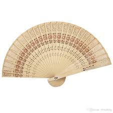 whole customized hollow out sandalwood folding hand fan unique wedding favors and gifts for guests party invitations party items from rlwedding