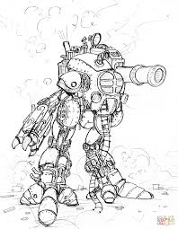 Small Picture Steampunk Giant Robot With a Big Cannon coloring page Free