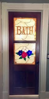 stained glass bathroom door insert