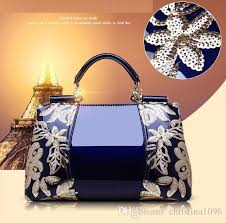 new luxury patent leather handbags fashion classical embroidery women tote bags blue charm shoulder cross bags for las handbag cute bags purses for