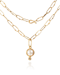 pearl and diamond pendant necklace in gold by petra class gold silver necklace artful home