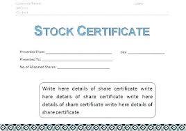 Template Share Certificate Stock Certificate Template Model Stock Certificate Template Simple