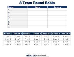 8 Team Round Robin Printable Tournament Bracket