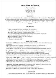 Resume Templates: General Contractor